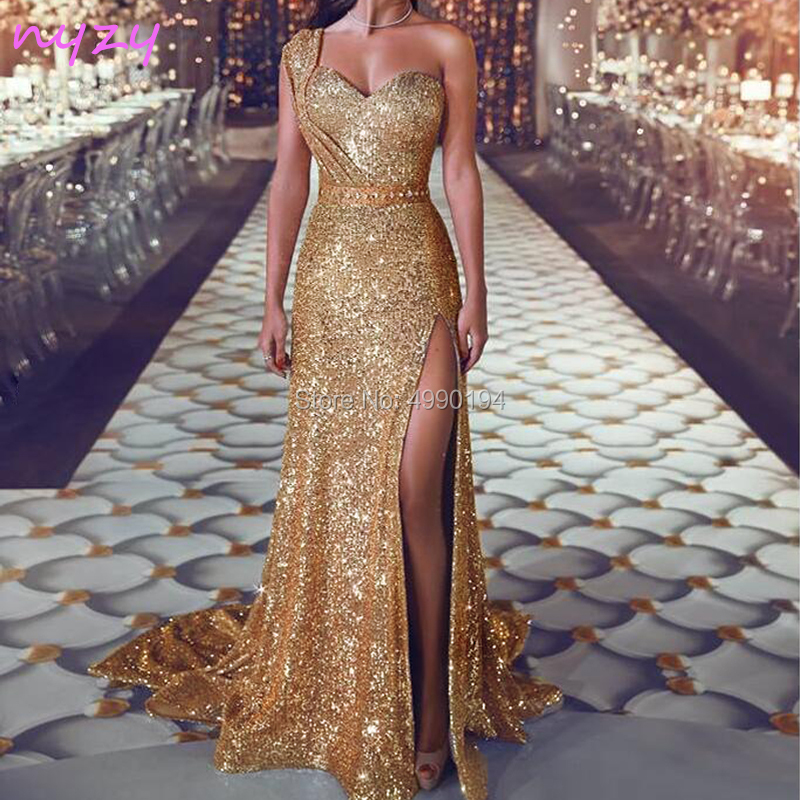 NYZY E21 Gold Evening Dresses Sequin Cut Leg 2019 One Shoulder Sexy High Slit Formal Dress For Wedding Party Mermaid Gown