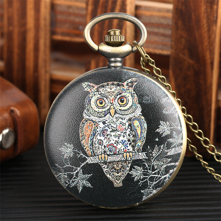 Exquisite Owl Design Quartz Pocket Watch Vintage Necklace Clock Gifts For Men Women Analog Display Bronze Pocket Clock For Kids