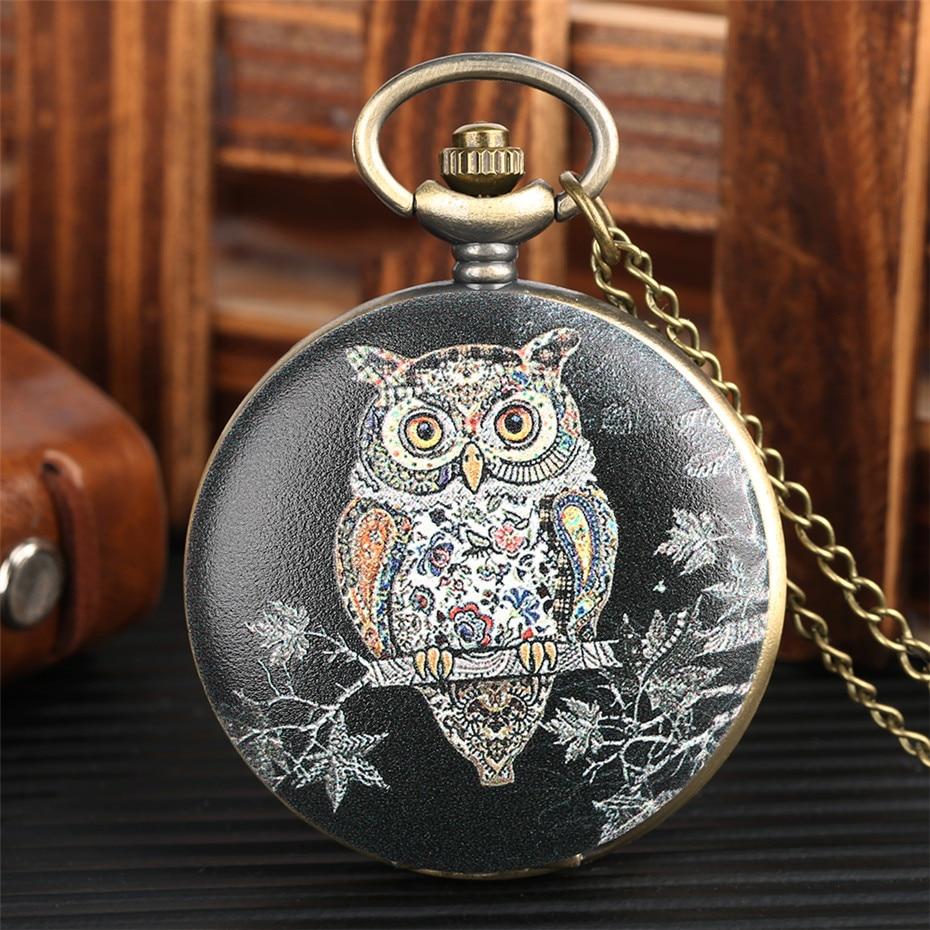 Exquisite Owl Design Quartz Pocket Watch Vintage Necklace Clock Gifts For Men Women Analog Display Bronze Pocket Clock For Kids