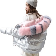 цены Winter down jacket women 2018 new double-sided wear bright face fox big fur collar white duck feather light and thin coat HJ138