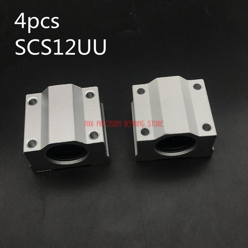 Axk trilho linear de alta qualidade 4 pçs sc12uu scs12uu linear movimento rolamentos de esferas slides bloco bucha para 12mm eixo guia ferroviário