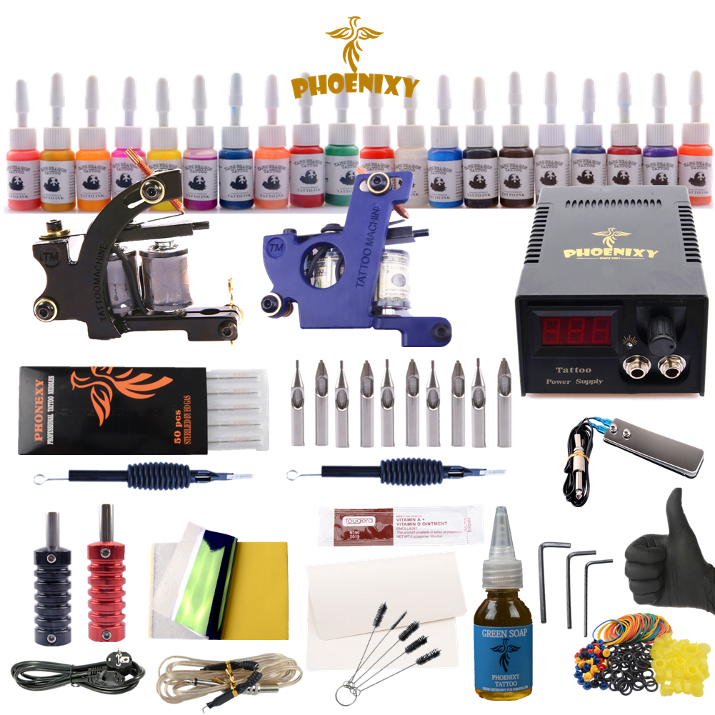 Complete Tattoo Kit 2 Tattoo Machines Gun Black Ink Set Power Supply Grips Body Art Tools Set Tattoo Permanent Makeup Tattoo setComplete Tattoo Kit 2 Tattoo Machines Gun Black Ink Set Power Supply Grips Body Art Tools Set Tattoo Permanent Makeup Tattoo set