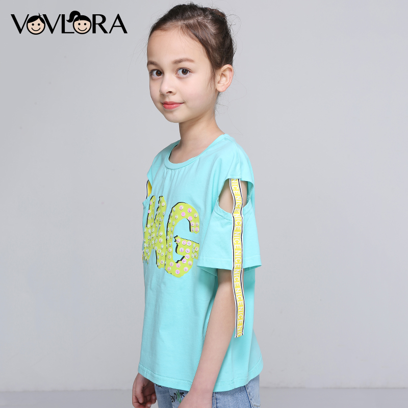 Girls Tee Tops Sequins Letter Ribbon Kids T Shirts Cotton O Neck Short Sleeve Shoulder Summer 2018 Size 9 10 11 12 13 14 Years недорго, оригинальная цена