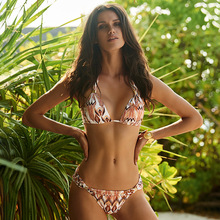 Retro Floral Printed Women Bikini For Beach Solid Triangle Off The Shoulder Swimwear Halter Slim Lace Up Two Piece Swimsuit 2019