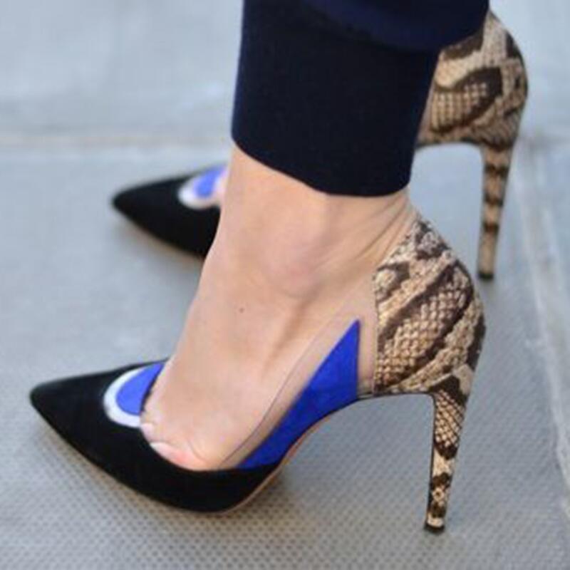 Sexy dames contraste couleur PVC Python cuir Patchwork pompes femmes bout pointu mode fête talons hauts couleurs mélangées pompe chaussures