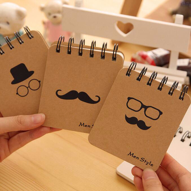 Hot Cartoon mustache Mr. and Weather coil Notebook Portable notepad Pocket book Office school stationery Supplies