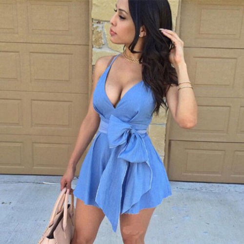 2019 Newest Summer Sexy Women Sleeveless V Neck Bow Tie Party Dress Evening Casual Mini Dress Blue Vestidos Female Clothing