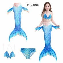 лучшая цена 11 Color Little Children Mermaid Tails For Swimming Costume Mermaid Cosplay Kids Girls Bathing Suit Swimwear Swimsuit Fairy Tail