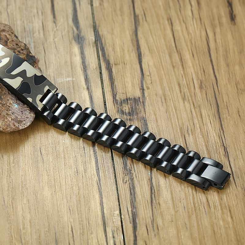 Męskie czarne ze stali nierdzewnej ID bransoletka z armii wzór kamuflażu Tag bransoletka dla mężczyzn Woodland Camo biżuteria męska 8.26 cal