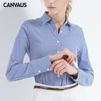 Womens tops and blouses cotton shirt Slim Blouse Casual blue white stripe Long Sleeve shirts Women Tops classic shirts new Femme