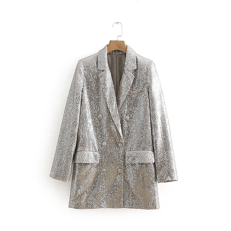 LANMREM 2019 New Silver Color Personal Blazer For Women Spring Clothing Double breasted Sequins Patchwork Jacket