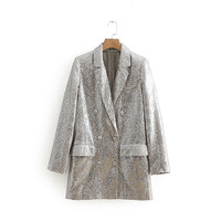 LANMREM 2019 New Silver Color Personal Blazer For Women Spring Clothing Double breasted Sequins Patchwork Jacket Fashion QF059