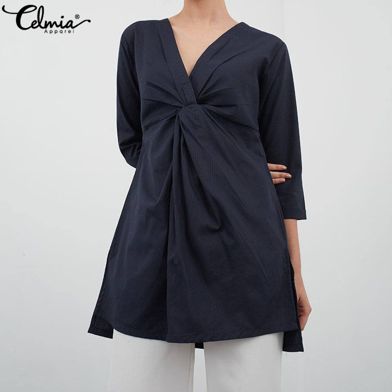 Celmia Women Sexy Blouse Casual V-neck Long Pleated Shirts Asymmetrical Top Zipper Elegant Office Ladies Blusas Mujer Plus Size