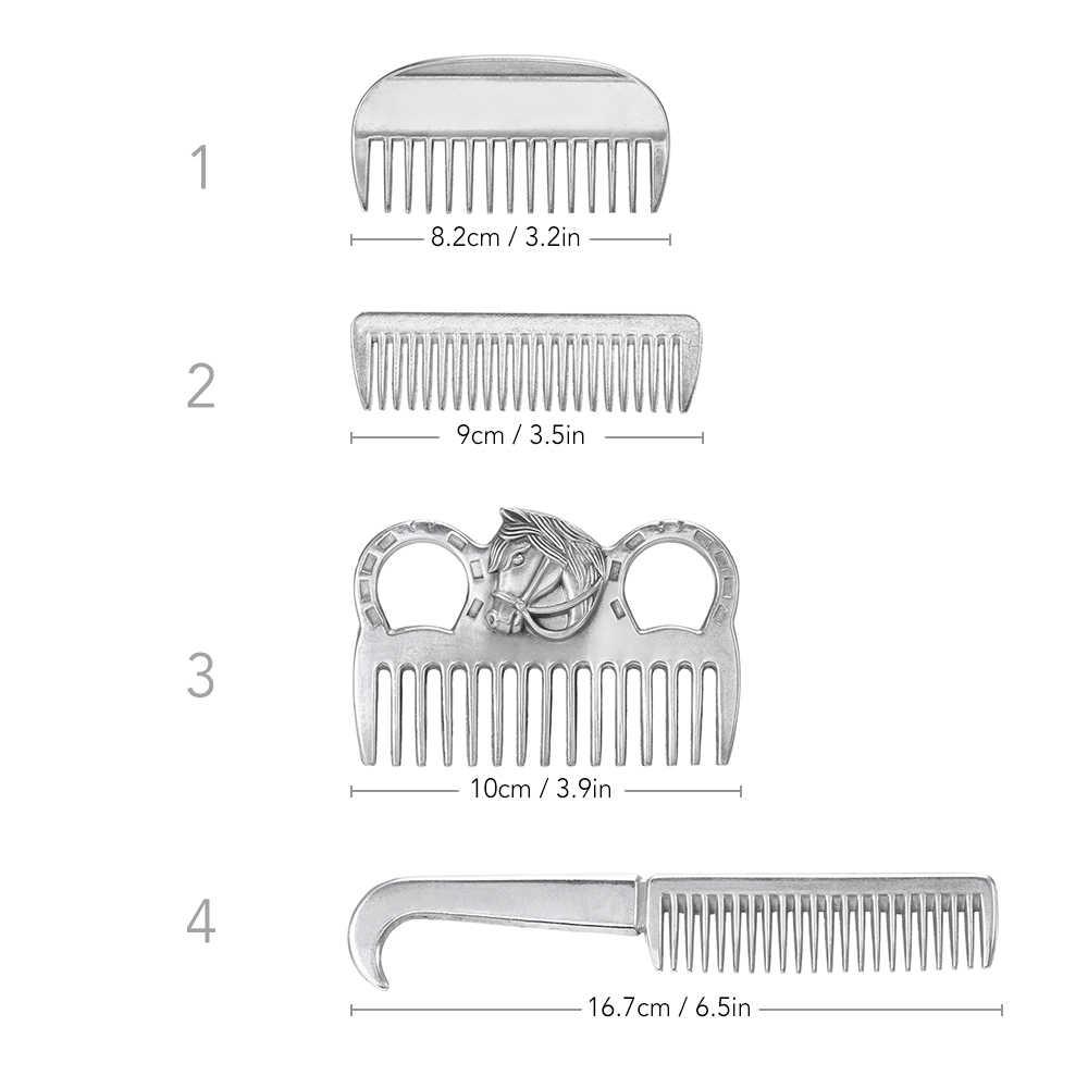 Outils de toilettage de queue de crinière de peigne de cheval d'alliage d'aluminium 4 Types peigne de traction de cheveux de cheval en métal 6.5IN/3.9IN/3.5IN/3.2IN