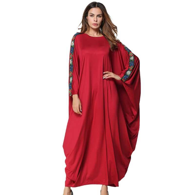Muslim Abaya Dress Women Solid Splice Appliques Bat Sleeve Round Neck Dress Loose Plus Size Spring Autumn Gowns Festival Casua