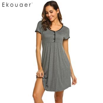 27090ae7100595d Ekouaer ночные рубашки платье для женщин Ночная рубашка с v-образным вырезом  короткий рукав средства ухода за кожей для будущих мам ночные руба.