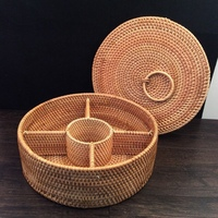 Fruit Box Basket Rattan Storage Tissue Key Package New Year Paper Sundries Hand Made Round Rectangle Cover Dried Fruit(Color B