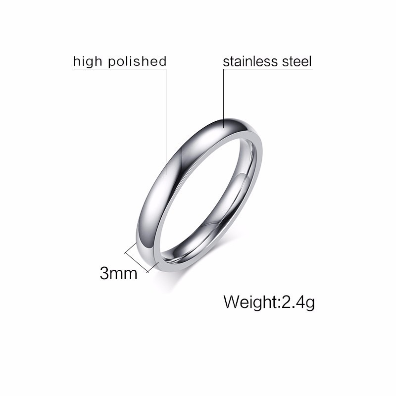 Vnox 3mm Thin Stainless Steel Wedding Rings for Women Men Never Fade Engagement Bands CZ Stone Solitaire Ring 6