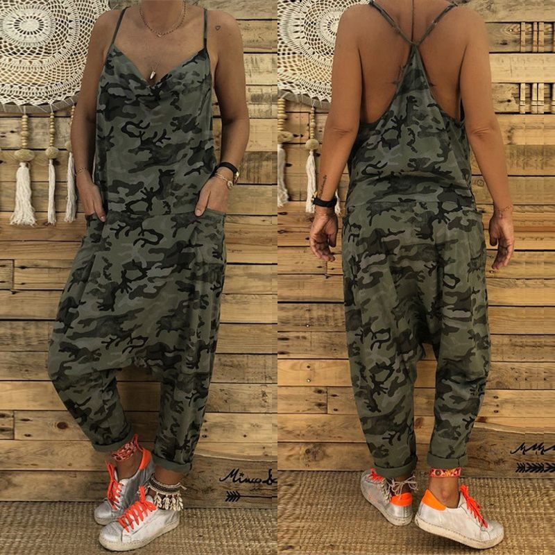 2019 Summer Fashion Camouflage Overalls Women Sexy Strap Deep V Neck   Jumpsuits   Drop-Crotch Playsuit Party Long Pants Pantalon
