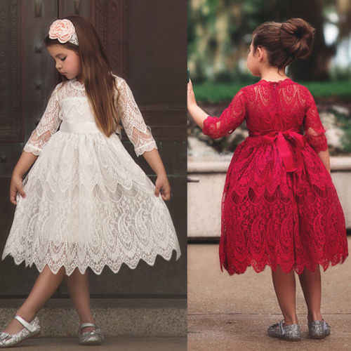 31b9ef713b Lace Girl Flower Princess Dress Summer Floral Formal Wedding Bridesmaid  Sundress Short Sleeve Solid Hot Dress Toddler Clothes