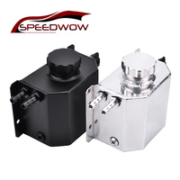 SPEEDWOW Universal 1L Aluminum Oil Catch Can Radiator Overflow Tank With Drain Plug Breather Oil Tank For Honda