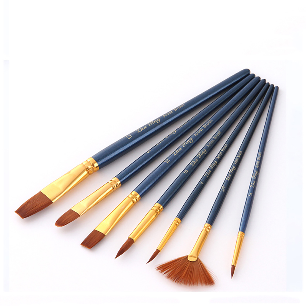 7pcs Dark Blue Watercolor Brush Set Nylon Hair Painting Brush Acrylic Oil Painting Accessories Student Art Supplies