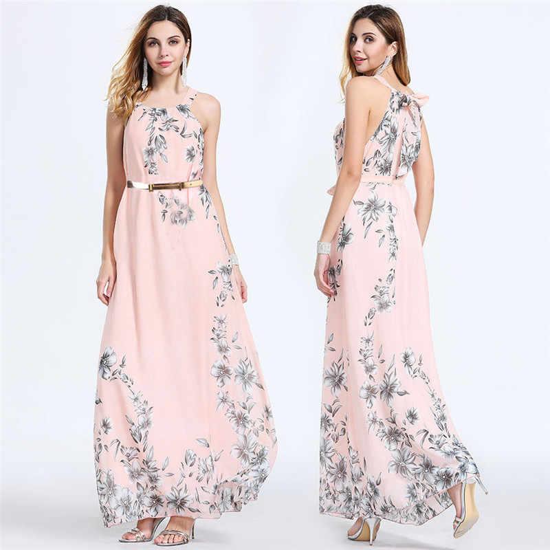 2019 New Fashion Women Summer Boho Floral Long Dresses Lady Sleeveless Halter Beach Long Dress Femael Swing Ankle-Length Dresses