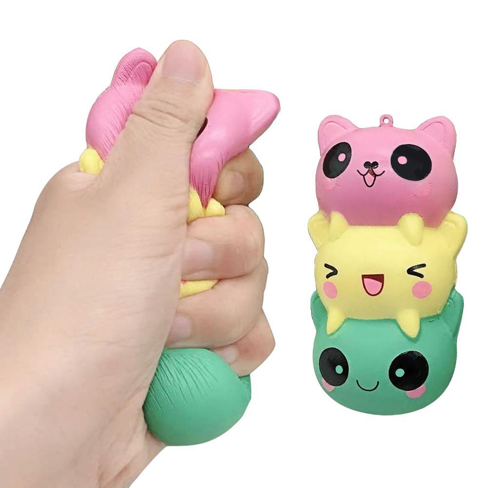 Cute Squeeze  Slow Rising Panda Cat Bear Face Toys Soft Press Toys For Kids Adult Relieves Stress Home Decoration