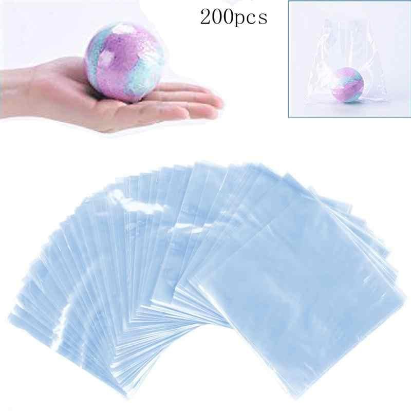 200 pces 6x6 polegada impermeável pof calor psiquiatra sacos de envoltório para sabonetes bombas de banho e diy artesanato (transparente)