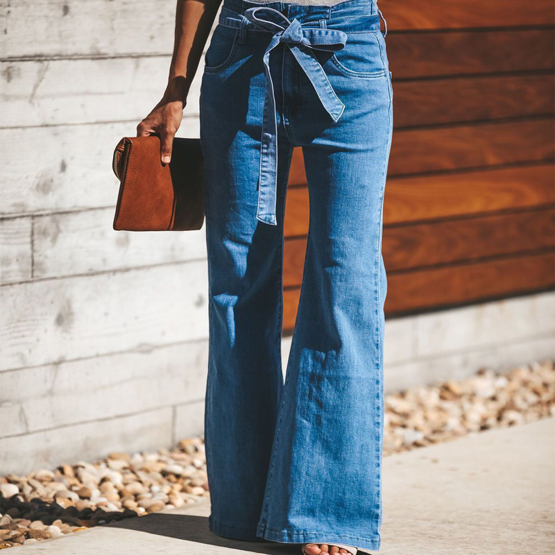 Women Denim Floral Flare Pants Wide Leg Bell Bottom Ladies Skinny Jeans Trousers