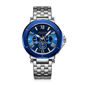 Real Multi-functions Julius Men's Watch Hours Epson Mov't Business Bracelet Stainless Steel Boy's Birthday Christmas Gift Box