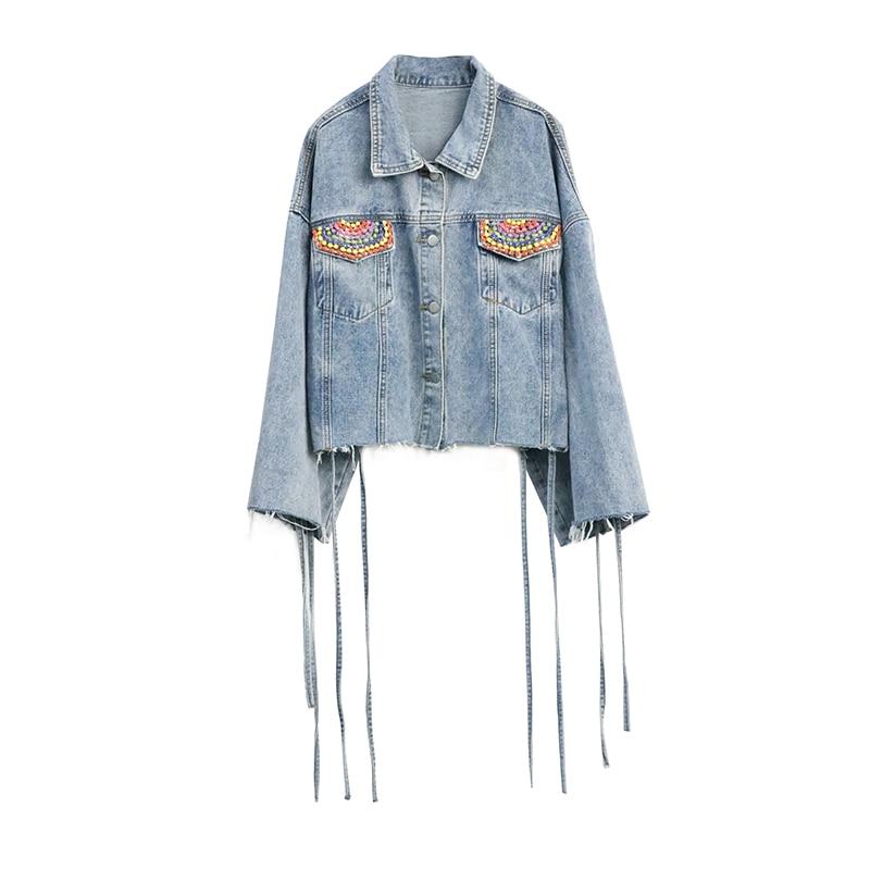 Bonjean Красочные женский брючный костюм с вышивкой бисером для Для женщин 2019 Весенняя верхняя одежда свободные синие джинсы куртка лоскутное Короткие джинсы пальто BJ1009 - 6