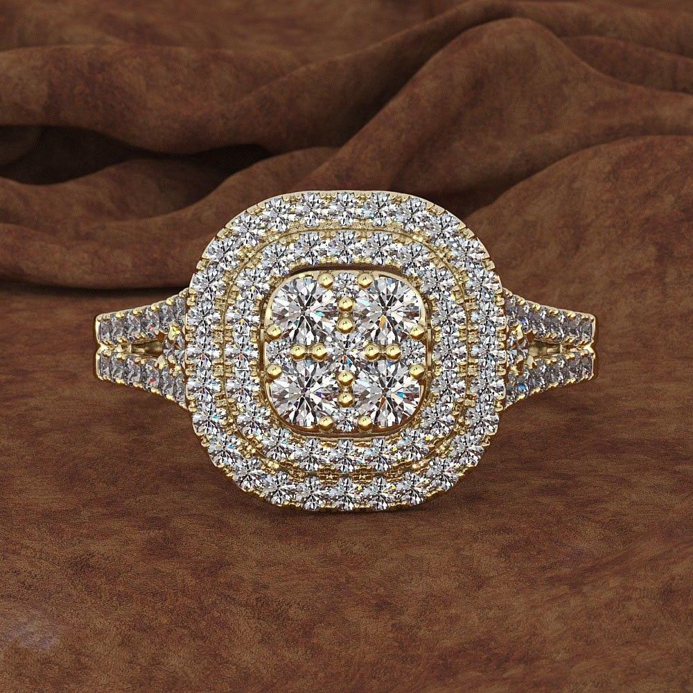New 14K Gold Carat Diamond Rings For Women Men Square Bizuteria Gemstone Zircon Jewelry Wedding Party Rings For Female 2019