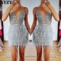 NYZY C109 Chic перо короткое коктейльное платье пикантные прозрачный кристалл платье Вечерние Платье vestido de madrinha коктель formatura 2019