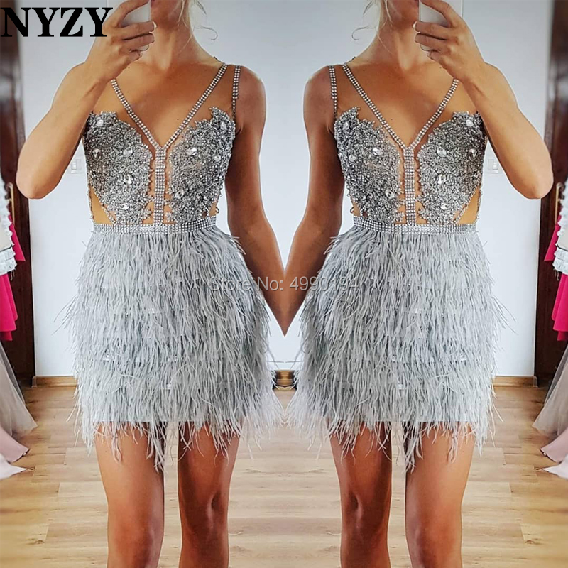 NYZY C109 Chic Feather Short   Cocktail     Dress   Sexy See-through Crystal   Dress   Party Gown vestido de madrinha coctel formatura 2019