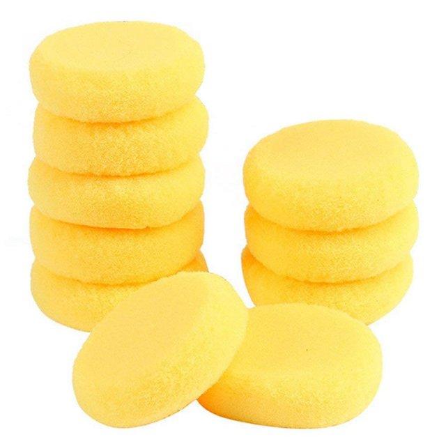 FUNN-10pcs esponjas redondas de pintura de artista sintético para pintar alfarería de Arte de acuarela esponjas amarillas de 2,75 pulgadas