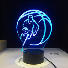 3D Basketball Sport Home Decoration LED illusion Touch 7 Color Change Lamp Bedroom Night Light Best Child Boys Man Gift AW-3082