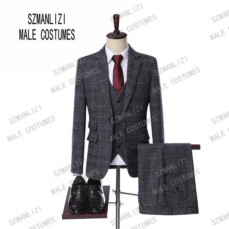 Men Wedding Suits 2019 New Design Custom Made Groomsmen Grey Wool Business Groom Tuxedos Mens Tuxedo Wedding/Prom Suits 3 Pieces