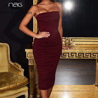 NewAsia Double Layers 2019 Summer Sexy Party Dress Women Spaghetti Straps Backless Long Bodycon Dress Vintage Ruched Midi Dress