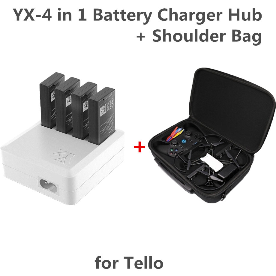 Tello 4 In 1 Multi Battery Charger Hub RC Intelligent Quick Charging EU/US+tello Drone Body & Remote Controller Shoulder Bag