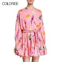 COLOREE European Fashion Vacation Beach Boho Mini Dress Runway Designer Dress 2019 Summer Colour Lace up Belts High Street Dress