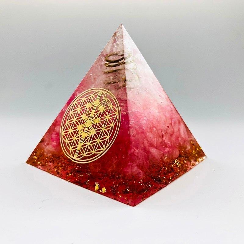 Halo énergie convertisseur 5-6cm Orgonite pyramide, symbolisant l'amour apporte bonne chance résine décoration artisanat orgone