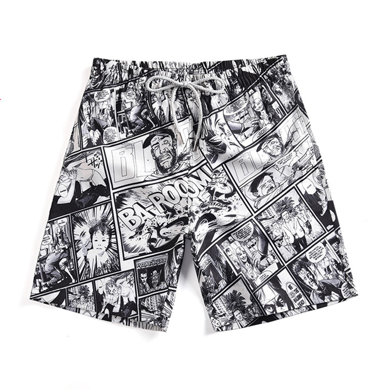 Men's Black Printed   Board     Shorts   Drifting   Short   Pants Man Beach Pants   Short   De Bain Homme Swimwear Men Bermudas Surf   Shorts