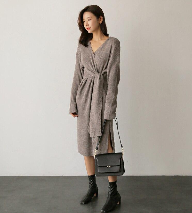 Elegante Profundo Vestido Cuello Con Suelta Invierno En Europea Moda V Sash Pengpious Mujer De Dama Punto aH6wqxzq