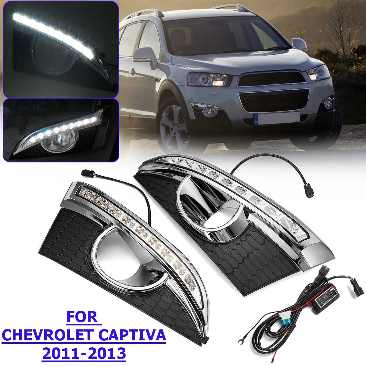 12V 2Pcs Front LED Daytime Running Light DRL FOR CHEVROLET CAPTIVA 2011 2012 2013 Driving Fog Lamp Headlight White Car Styling12V 2Pcs Front LED Daytime Running Light DRL FOR CHEVROLET CAPTIVA 2011 2012 2013 Driving Fog Lamp Headlight White Car Styling