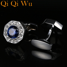 New Arrive Luxury French Mens Shirt Cufflinks Metal Men Cuff Links For Wedding Party Crystal Cufflink High Quality RL-8075