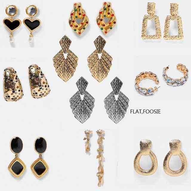 Flatfoosie Vintage ZA Women Dangle Earring For Women Fashion Wedding Party Sliver Color Bride Statement Earing Jewellery Girl
