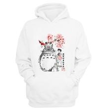 Japońskie anime studio ghibli bluza z kapturem Totoro bluzy bluzy kobiety mężczyźni Kid bluza z kapturem harajuku spirited away bluza z kapturem mężczyzna tanie tanio DAYUHU Pełna REGULAR STANDARD Brak Poliester Japan style NONE Drukuj