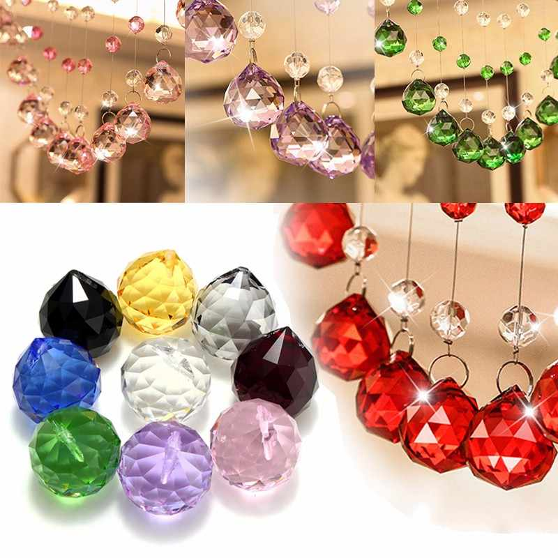 10 Colors 40mm Man-made Crystal Ball Prism Chandelier Crystal Parts Hanging Pendant Lighting Ball Suncatcher Home Decor