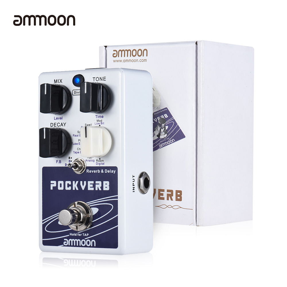 ammoon POCKVERB Guitar Pedal Reverb & Delay Guitar Effect Pedal 7 Reverb Effects + 7 Delay Effects With Tap Tempo Function